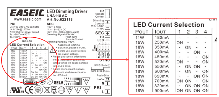 Led Driver Led Power Lna118 Ac 18w 180ma,350ma,700ma,900ma 0-10v ...