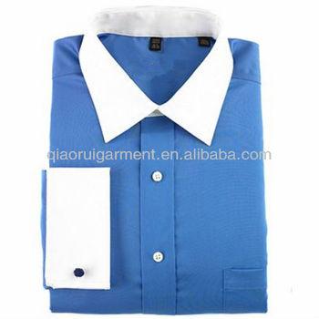 adbdd45420c Men s White Collar Double Cuff Dress Shirt - Buy White Collar Double ...