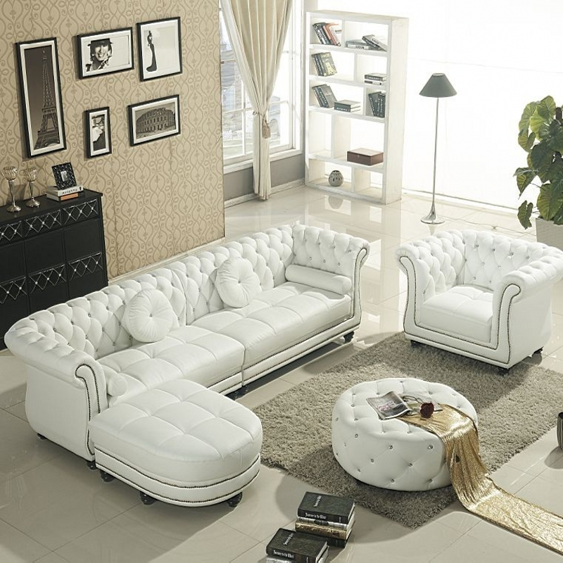 Set White Leather Chesterfield Sofa