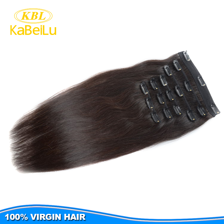 KBL Top grade natural remy indian hair clip ins,silky straight clipin hair extension,hot sale clip on bangs for black women