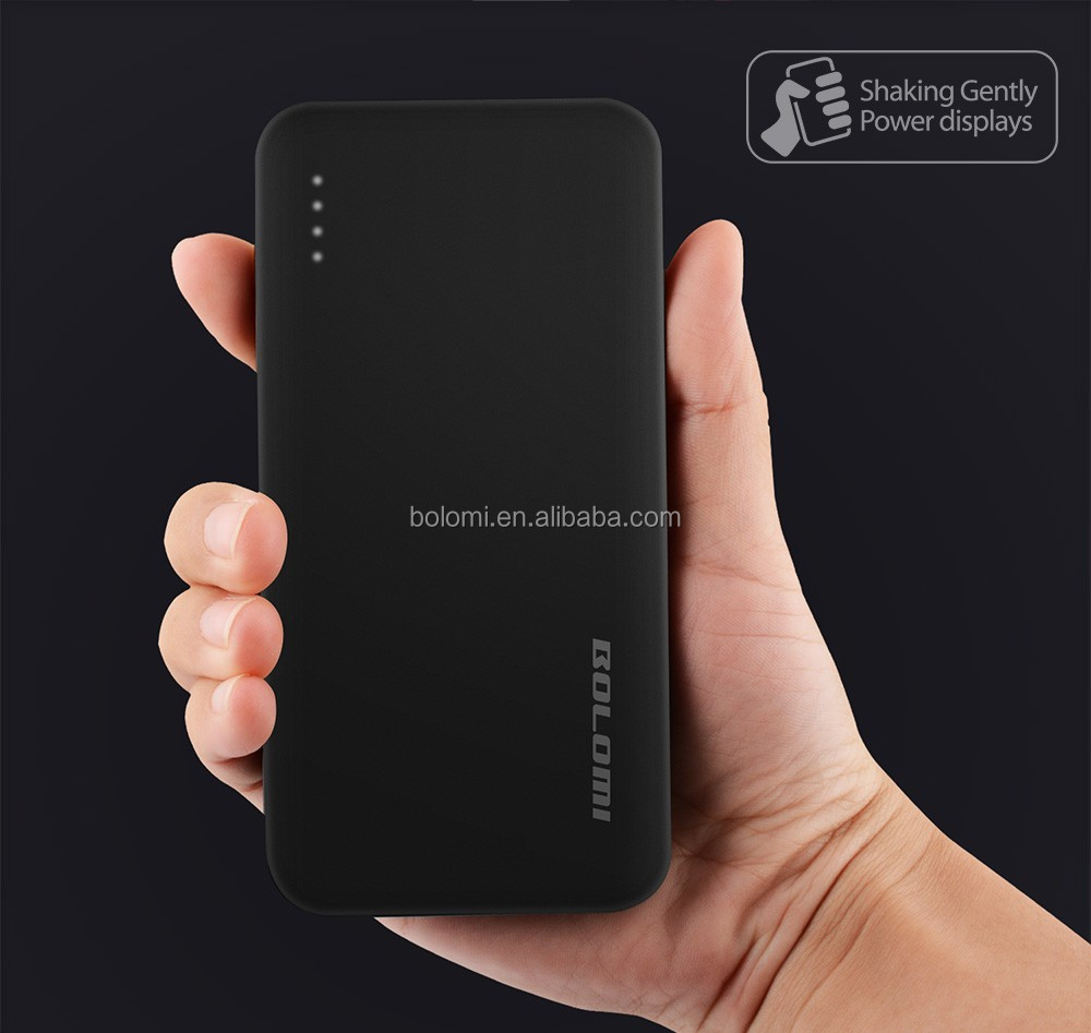 2017 New emergency external battery charger shake 8000mAh power bank for smart phones showing power by shaking