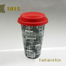 2014 Hot sale sublimation black porcelain coffee mug with lid