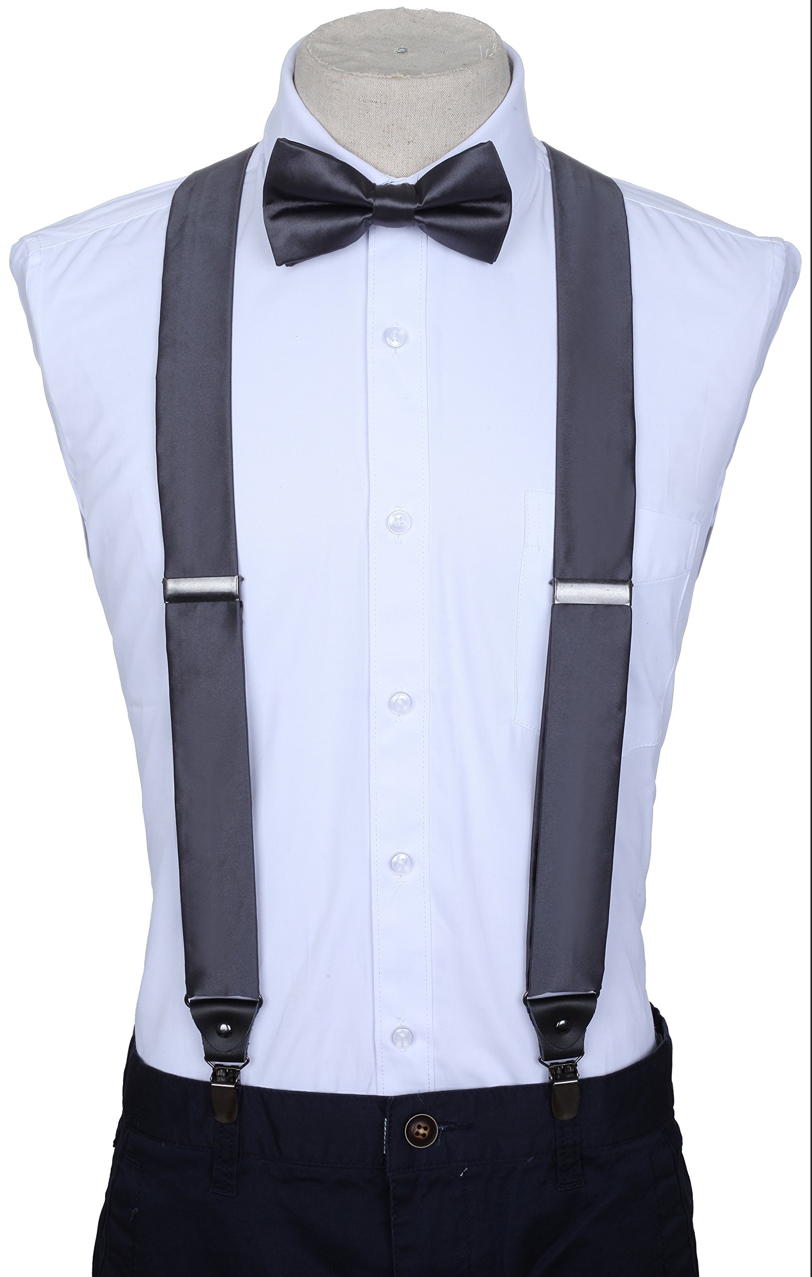 86ecb02a8 Get Quotations · Marino Suspenders and Bow Tie Set - Dress Suspenders For  Men - Silk-Like Pants