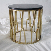 Customized villa furniture drawing room stainless steel marble end table