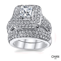 OEM Wedding Rings For Women Engagement Ring Set 925 Sterling Silver 2.4Ct Round White AAA Cz Size 5-12