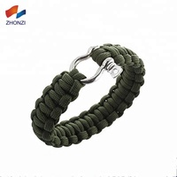WholeSale Outdoor Paracord Survival Bracelet Stainless Steel Adjustable Buckle Clasp Military Camping 550 Rope Bracelet