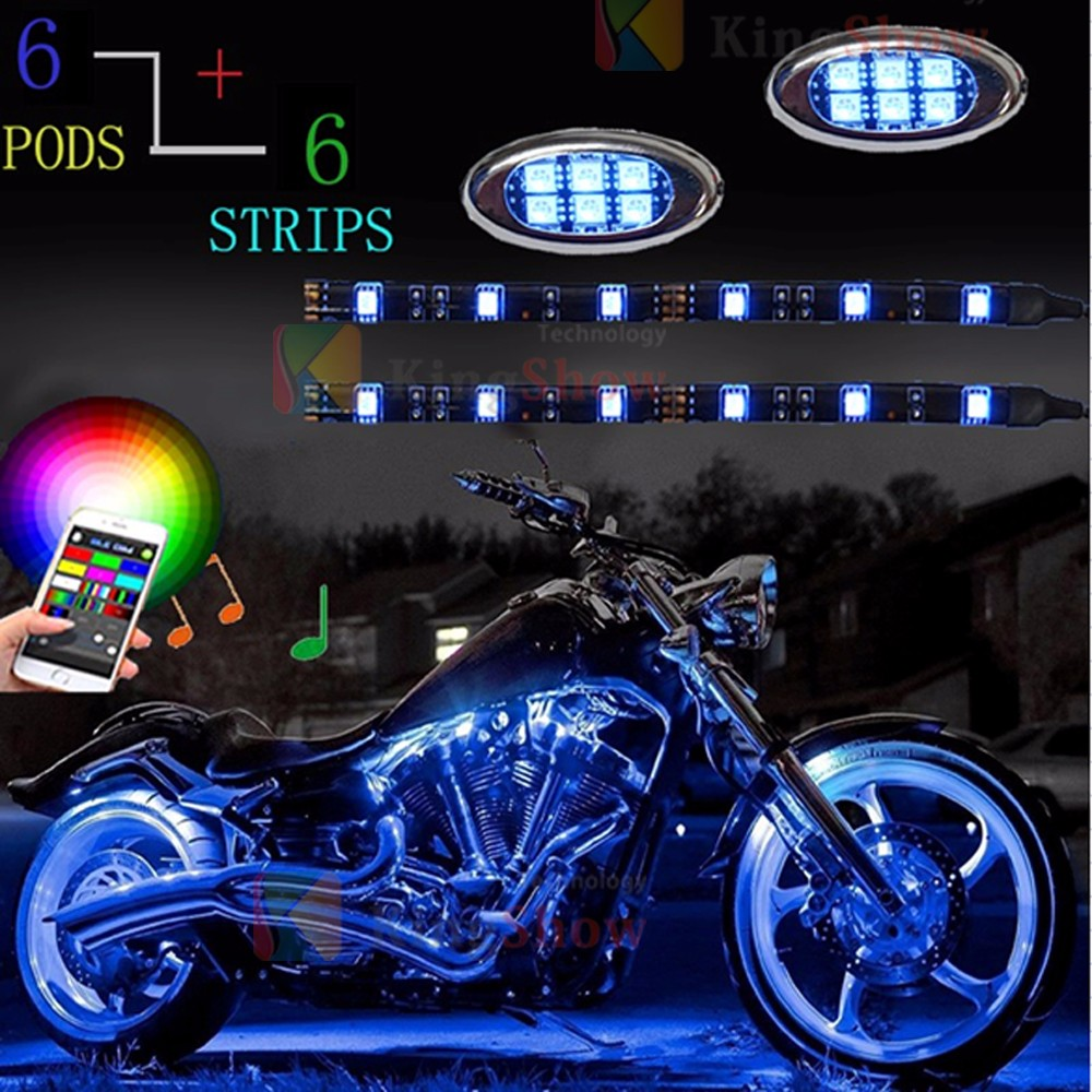 18 Color 12pcs RGB Motorcycle ATV Flexible Strip LED Light RGB flashing led module NEON Remote Kit