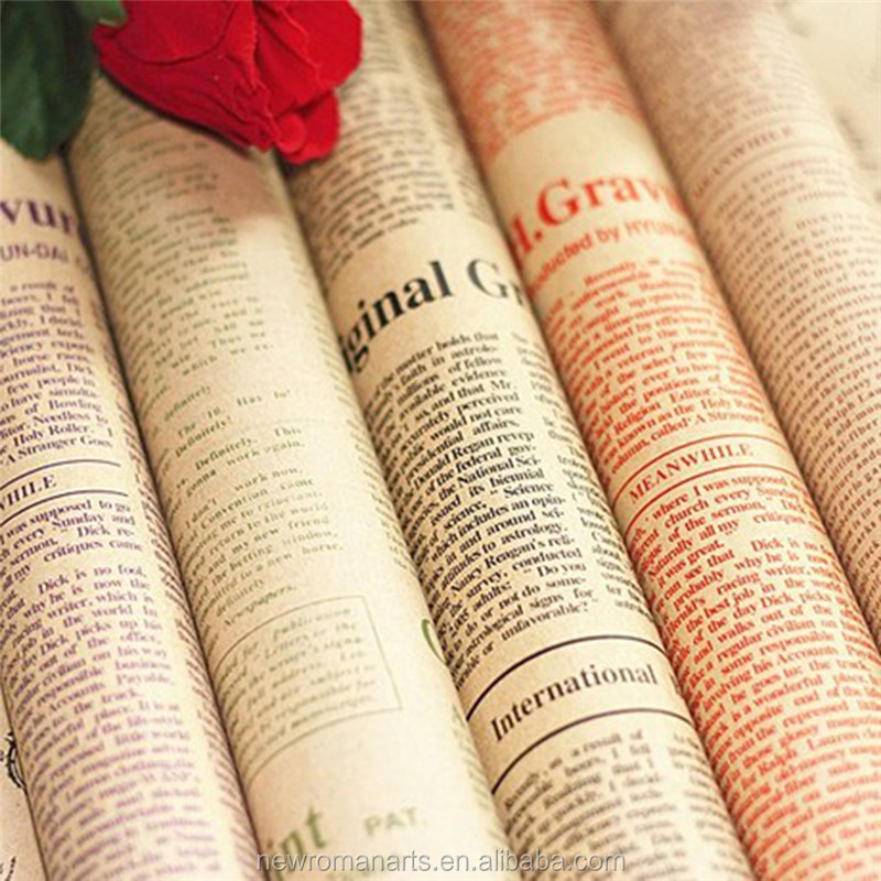 Newspaper Decoration Wrapping Paper Wrap Gift Wrap Double Sided Christmas Party Decor Vintage Kraft Paper