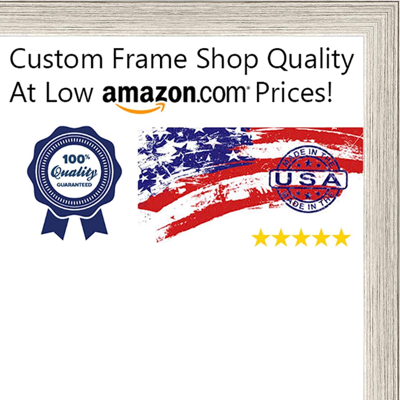 Poster Palooza 28x40 Contemporary Silver Wood Shadow Box Frame - UV Acrylic, Acid Free Backing, Hanging Hardware Included!