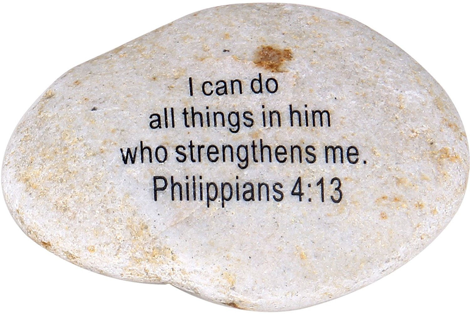 "Holy Land Market Extra Large Engraved Inspirational Scripture Biblical Natural Stones Collection - Stone IV : Philippians 4:13 :"" I can do All Things in him who Strengthens me."