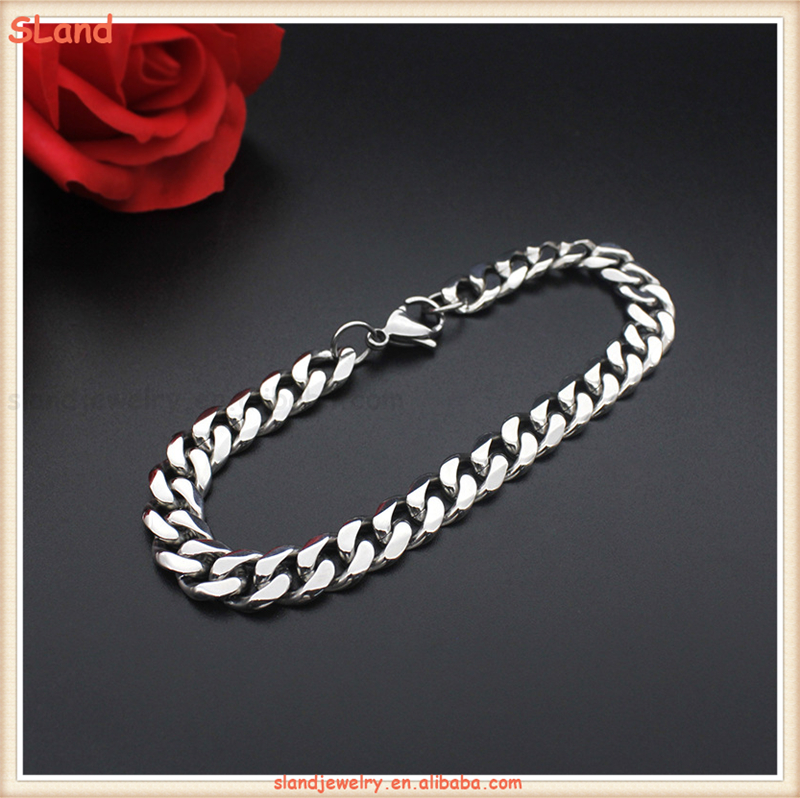 2017 Fashion Jewelry High polished Flat Hand Chain Bracelet Wide Stainless Steel Curb Chain Bracelet for Men gifts
