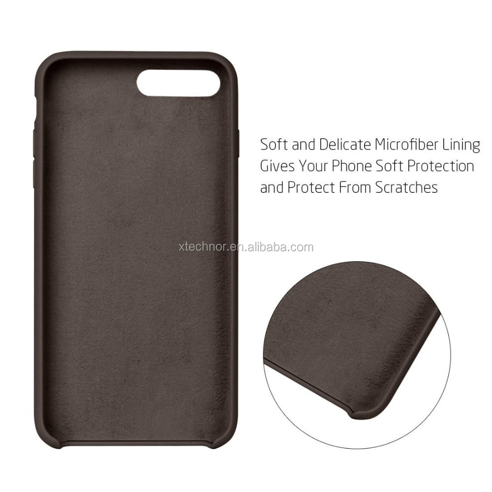 Original Silicone Anti-Scratch Drop Proof Soft Microfiber Cloth Lining Cushion Excellent Grip Slim Fit Cover for iPhone 7 Plus