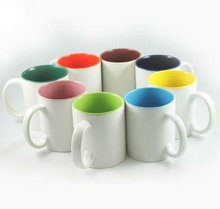 11oz Cheap personalized outside white inside colorful ceramic mug for coffee