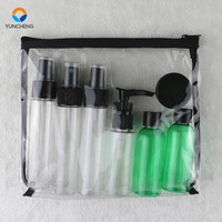 wholesale customized kit voyage avion flacon plastic travel set empty bottles