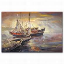 sea and boat canvas abstract oil painting