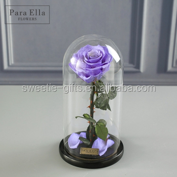Enchanted Preserved Flowers Long Lasing Roses In Glass Dome For 2018 Valentine Day Gift