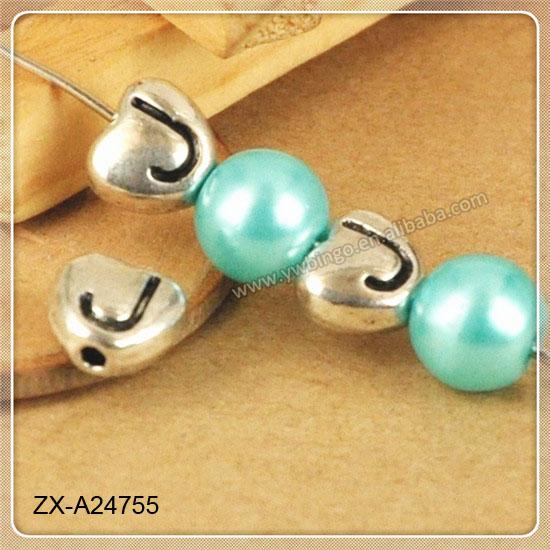 Antique Silver Letter J Different Styles Alphabet Letters Beads Charm