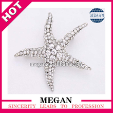 Silver Crystal Rhinestone Starfish Broach Beach Wedding Bridal Sash Brooch