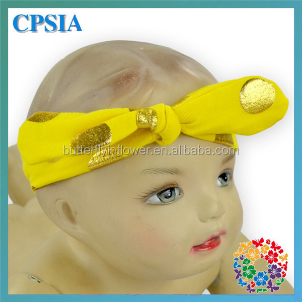 New style gold dot knot bunny ear headbands Wholesale elastic baby hair band Girls hair accessories