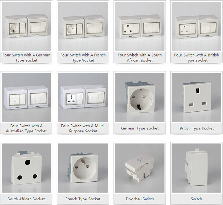 French Socket Cf S2s Series 16a Abs Waterproof Switch Socket Wall Plug Sokcet Ip55 Two Gang