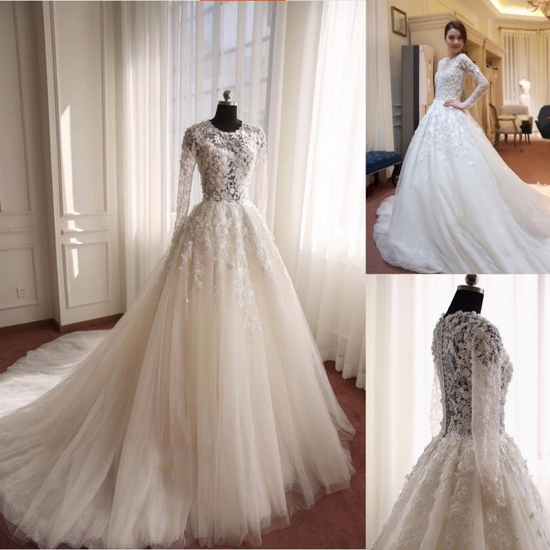 NW1128 Long Sleeves 3D Flower Lace Wedding Dress with Round Neck Elegant Tulle Skirt Bridal Gown