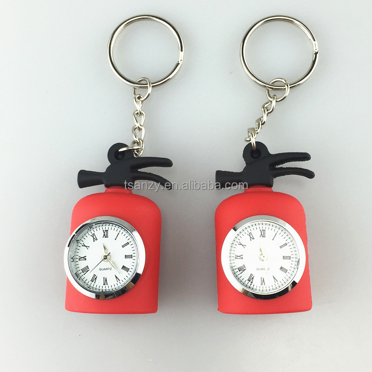 Custom logo PVC rubber 3D fire extinguisher shape clock key holder keychain clock