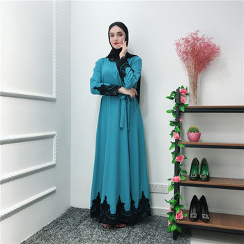 Newest LR240 blue  muslim casual dress cardigan  embroidery designs abaya dubai luxury