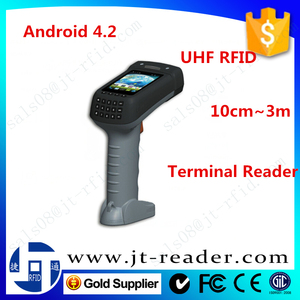 902~928MHz communication terminal support 1D/2D barcode Android 4.2 handheld bluetooth rfid reader