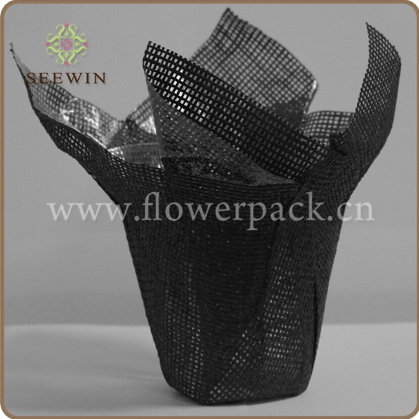 Black Paper Mesh Decorative Pot Covers/paper pulp flower pots