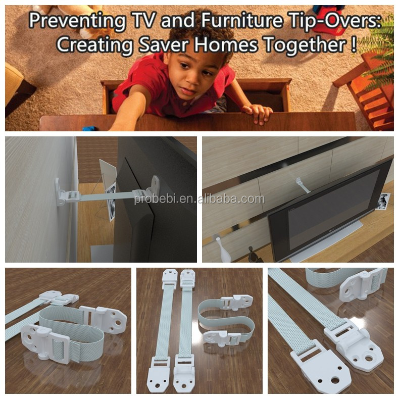 Anti-Tip Furniture and Flat Screen TV Safety Anchor Straps