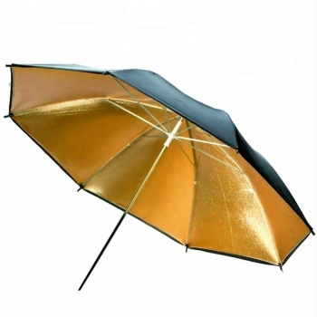 Professional 43 inch Black and Gold Reflector Umbrella for Photo & Video Shooting Studio Flash Light