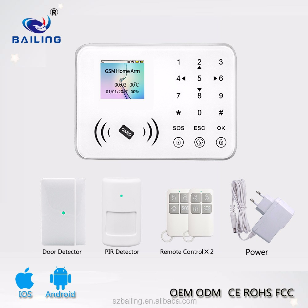 1200Ma built in battery GSM Smart home security alarm system with TFT full touch keypad 88 wireless 1 wired zones