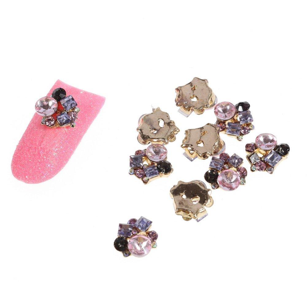 So Beauty Fashion Stunning Glitter Gold Metal with Pink Rhinestone Nail Art DIY Decorations - 10Pcs