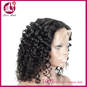 Best selling virgin burmese jerry curl full lace human hair half wig glueless cosplay lace front wig for black women