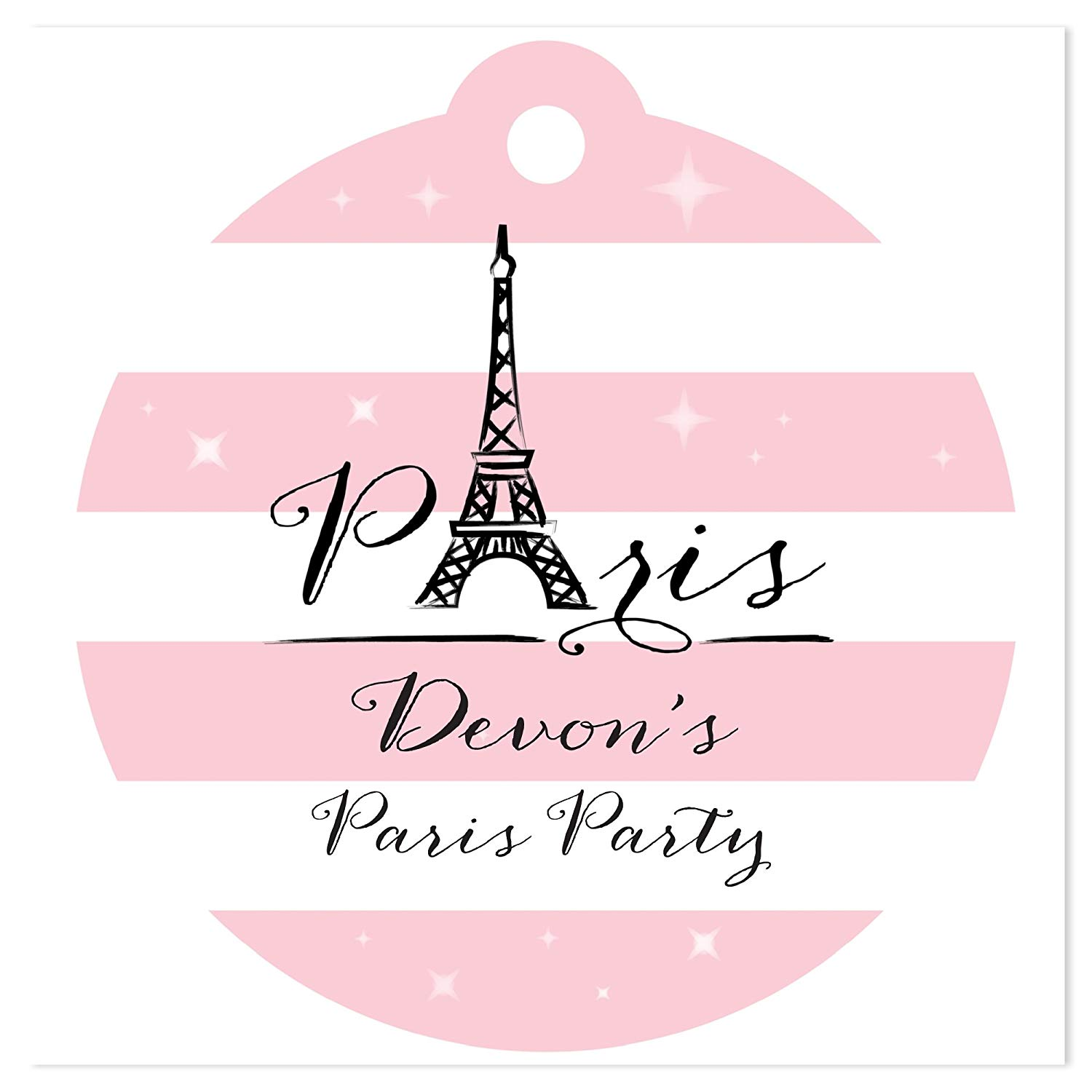 Big Dot of Happiness Custom Paris, Ooh La La - Personalized Paris Themed Baby Shower or Birthday Party Favor Gift Tags - Set of 20