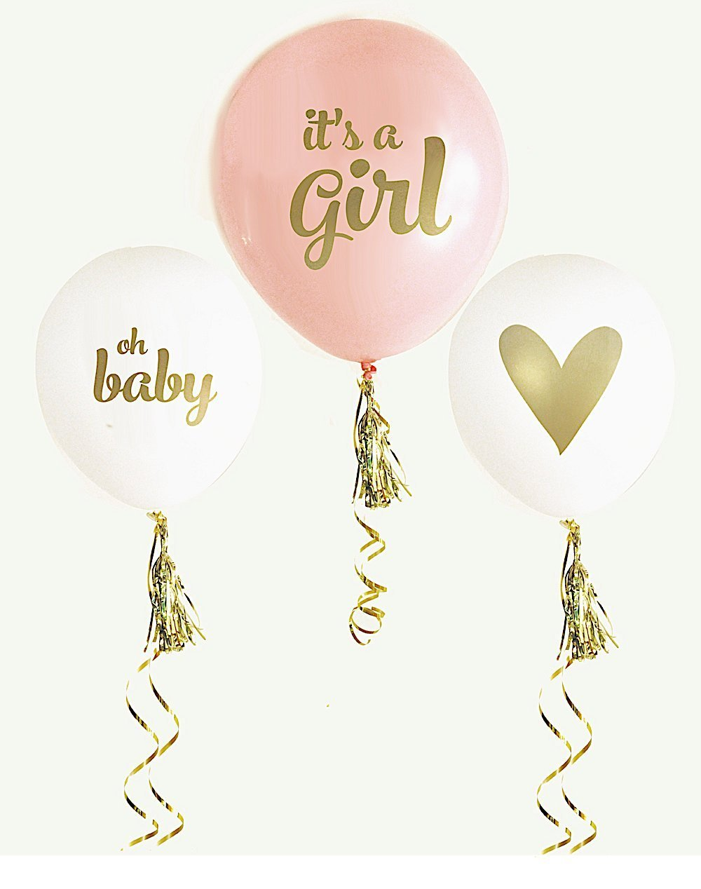 Pink and Gold Girl Baby Shower Balloons (set of 3) Baby Shower Decorations for Girl Balloons Gender Reveal Party