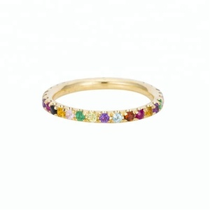 14K gold rainbow band eternity gemstone forever love ring women jewelry