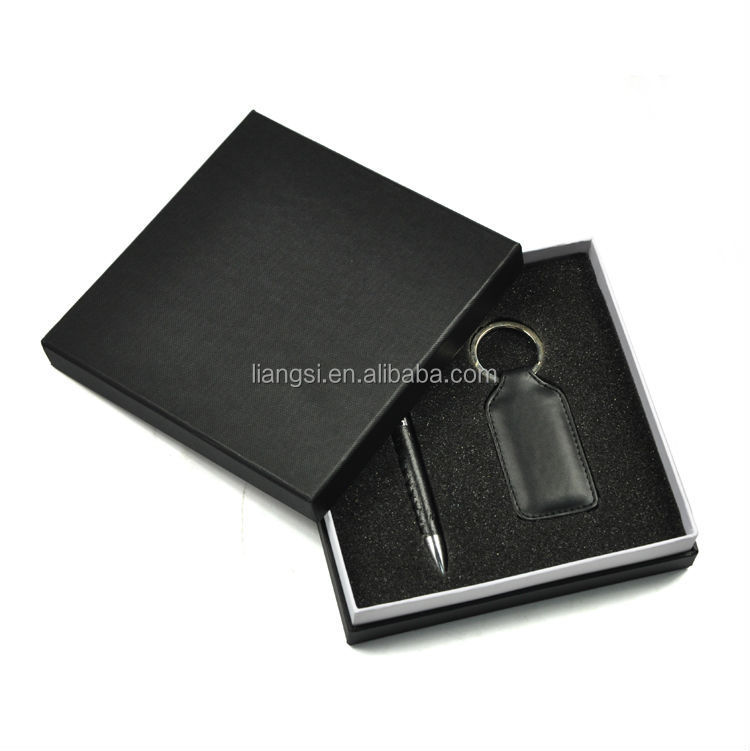 travel promotion classical leather pen keychain corporate men business christmas gift set