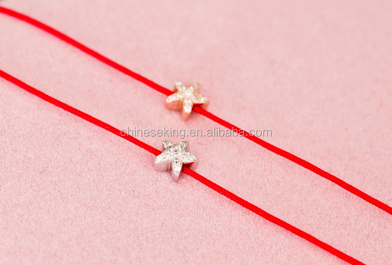 Silver Heart Charm Silk Cord Bracelet Adjule Red String Friendship For Promotion