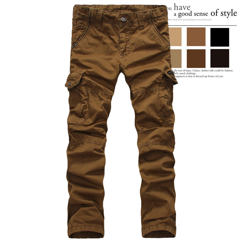 20067e9f41 Get Quotations · Men fashion Cargo Pants Cotton multi-pocket Overalls male  long trousers straight Casual pants Army