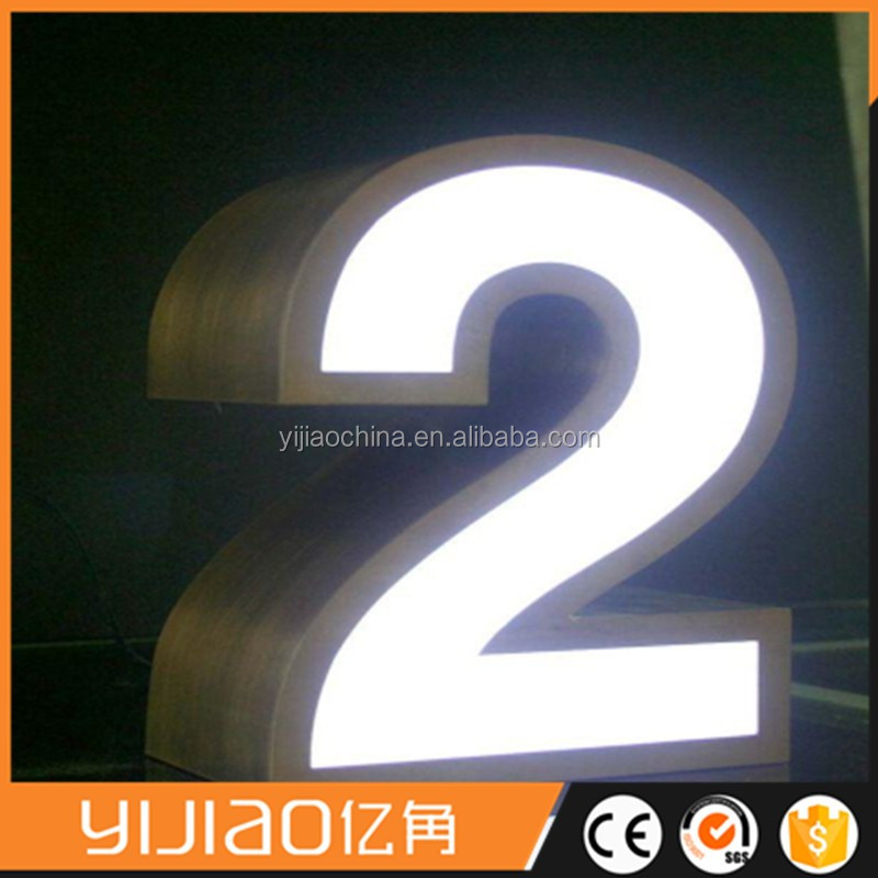 Front lit mirror stainless steel metal channel letter sign logo board