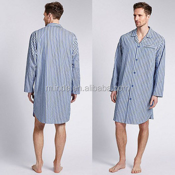 9f6b4ceaf5 China Agent Pure Cotton Classic Striped Thermal Nightshirt Long Sleeve  Collar Pajamas Wholesale Custom Pyjamas