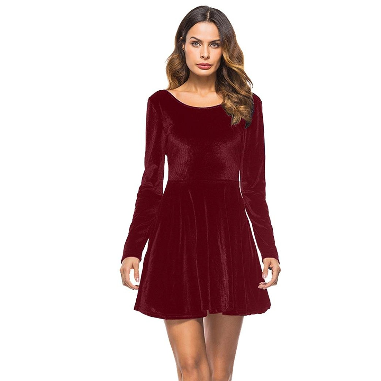 Get Quotations · IEason Women Dress Long Sleeve Backless Dress Party  Evening Porm Skater Mini Dress ab7a6ffe5