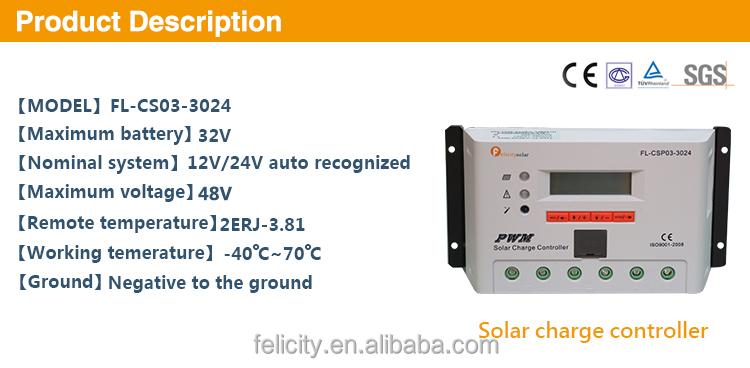 Felicity Solar 30a 12 24v Auto Pwm Solar Charge