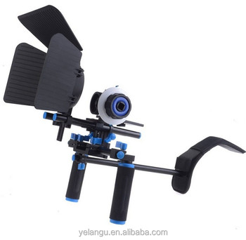 YELANGU DSLR Shoulder Rig Mount Follow Focus Matte Box with Top Handle for DSLR Camera