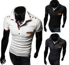 2015 Stylish Men's Slim Fit Polo T-shirt Summer Hot Sale Men's Short Sleeve Cotton T-shirts Fashion T-shirt With Leather Pocket