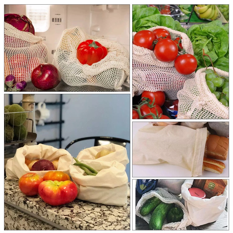 3pcs/set Reusable Produce Bags Home Kitchen Fruit And Vegetable Storage Mesh Bags