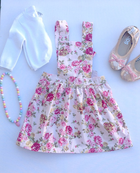 High quality cotton suspender dress toddler girl wholesale floral print skirts rainbow skirt