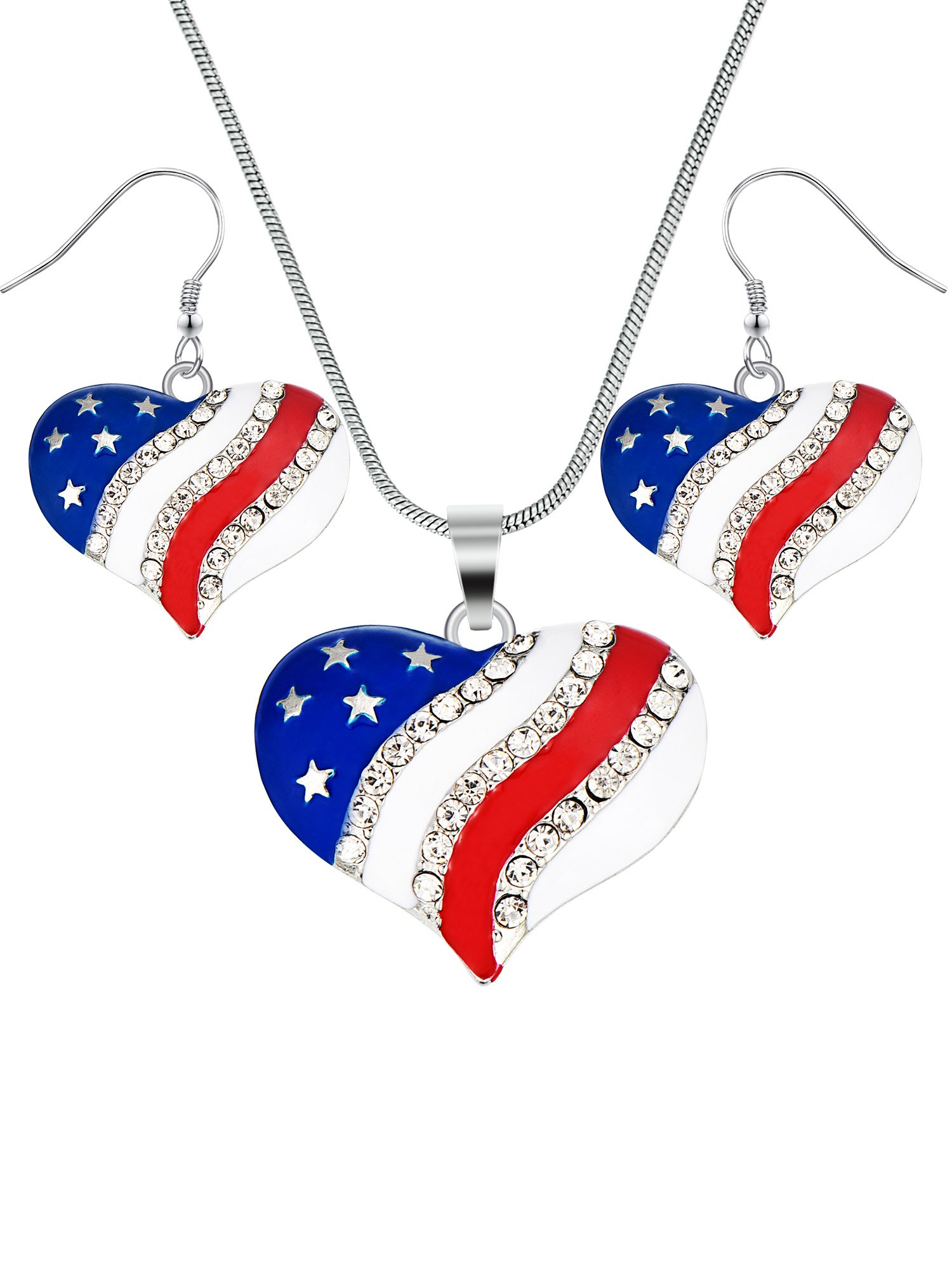 b40273dda Hestya USA American National Flag Star Patriotic 4th of July Independence  Day Memorial Day Pendant Necklace