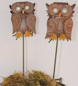 Get Quotations · Owl Handcrafted Metal Plant Pick Garden Stakes (Set Of 2)